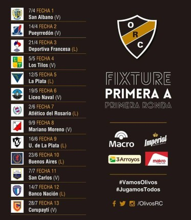 #RUGBY FIXTURE URBA 2018