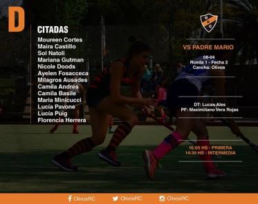 """#HOCKEY Linea """"D"""" FORMACIÓN Y HORARIOS (vs PADRE MARIO)"""