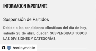 #HOCKEY PARTIDOS SUSPENDIDOS