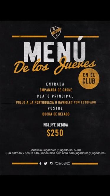 LOS JUEVES CENAMOS EN EL CLUB!