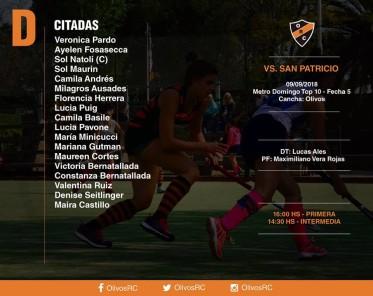 """#HOCKEY Linea """"D"""" FORMACIÓN Y HORARIOS (vs SAN PATRICIO)"""