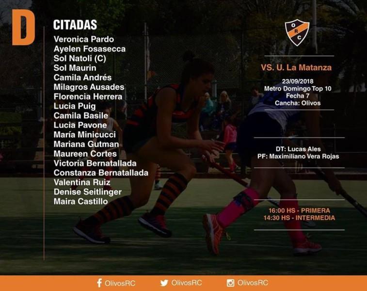 """#HOCKEY Linea """"D"""" FORMACIÓN Y HORARIOS (vs U. La MATANZA)"""
