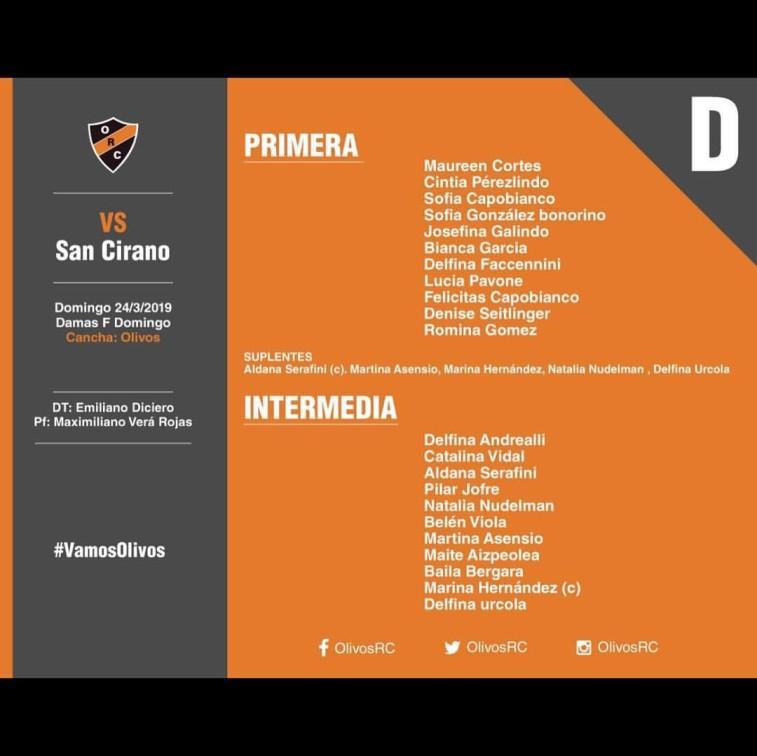 """#HOCKEY LINEA """"D"""" HORARIO Y FORMACIÓN"""