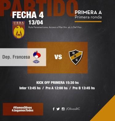 Previa 4° Fecha – Deportiva Francesa – Olivos (13-Apr-19)
