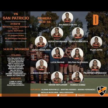 """#HOCKEY LINEA """"D"""" HORARIO Y FORMACIÓN (vs SAN PATRICIO)"""