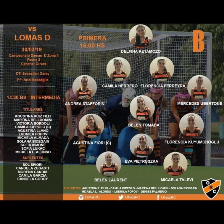 """#HOCKEY LINEA """"B"""" HORARIO Y FORMACIÓN (vs LOMAS)"""