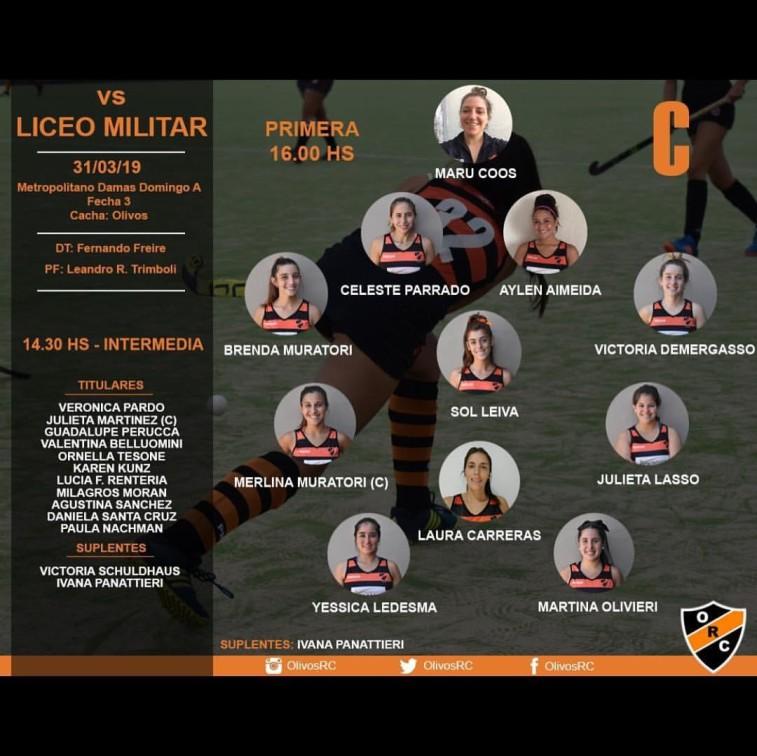 """#HOCKEY LINEA """"C"""" HORARIO Y FORMACIÓN (vs LICEO MILITAR)"""