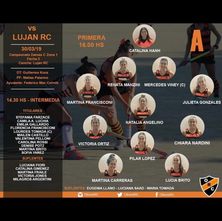 """#HOCKEY LINEA """"A"""" HORARIO Y FORMACIÓN (vs LUJAN)"""